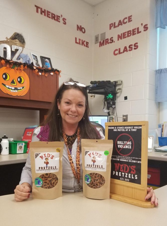 Katherine Nebel with Ned's Pretzels in her classroom at Green Elementary.