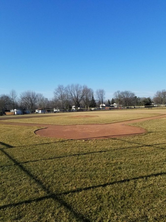 The+varsity+LCN+baseball+diamond+sits+empty+as+the+MHSAA+spring+sports+season+appears+to+be+coming+to+an+abrupt+end.