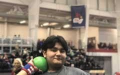 Kamuran Ramadanov at Saginaw Valley State University after throwing the shot put his official best of 27'8 feet. (Photo Credit: Dominic Comfort)
