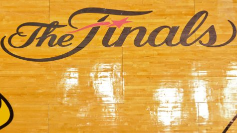 The Finals logo appearing on an NBA court. Photo Credit: Getty Images
