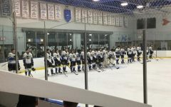 The LCU Ice Hockey team lines up before a game in 2018. Photo credit: Dominic Comfort