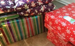 Photo Credits: Chris Peraino White Elephant gifts all wrapped.