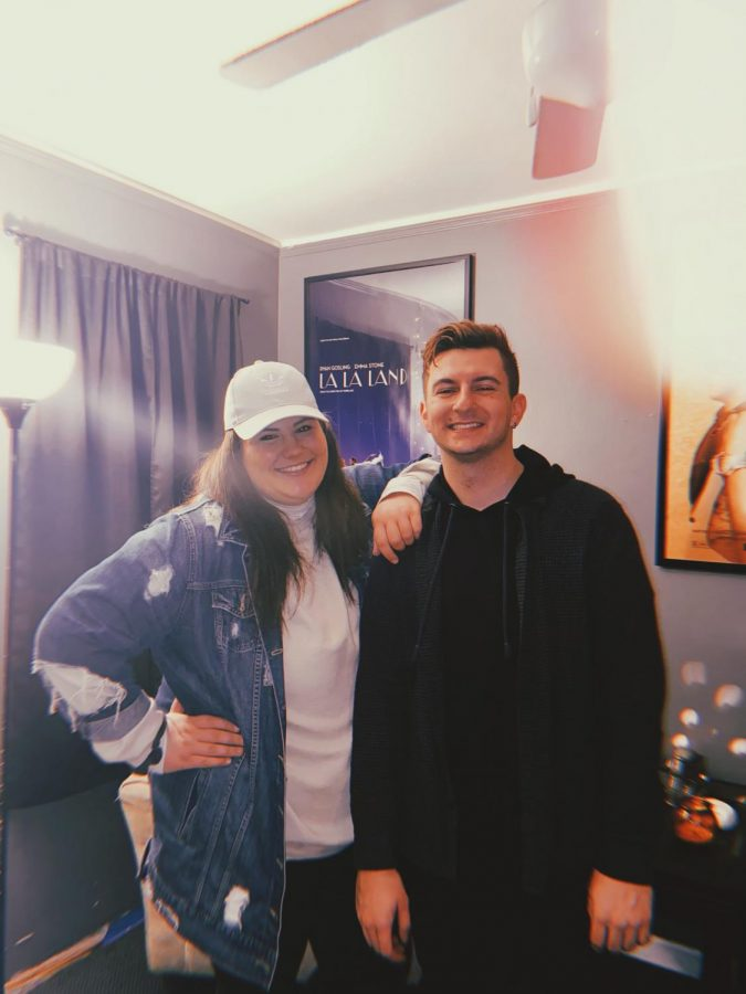 Caitie and Jordan filming their podcast