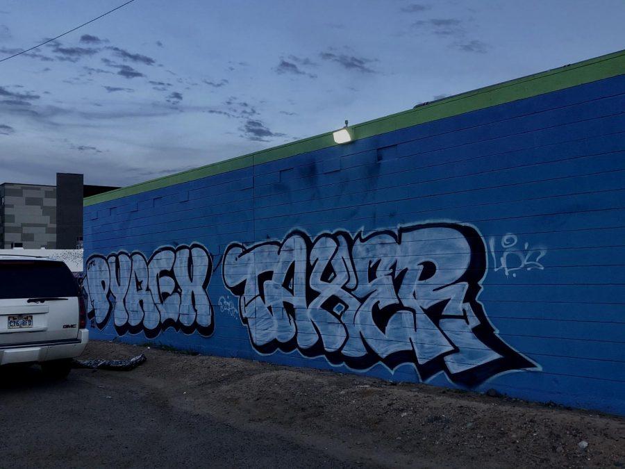 Graffitit by artist: Taxer, in downtown Pheonix, AZ