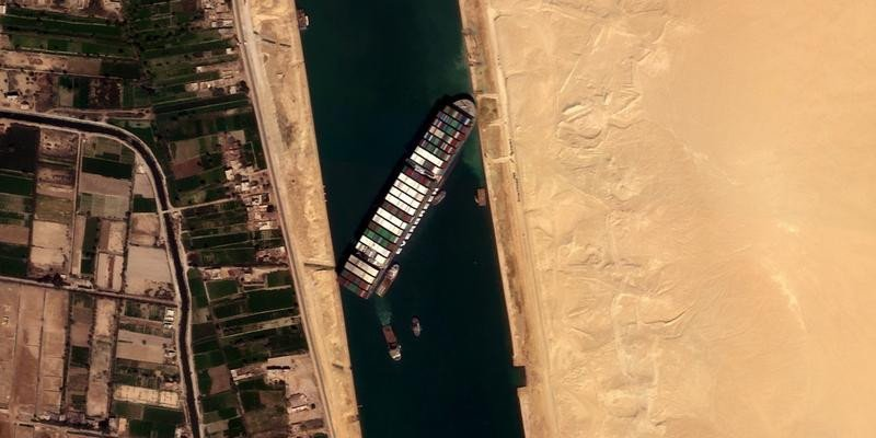 "Large Container Ship ""Ever Given"" Blocks Suez Canal"