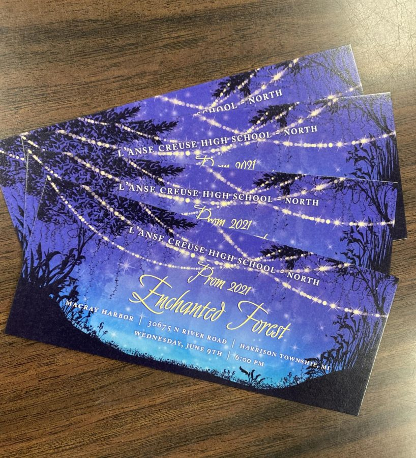 Photo of this years prom tickets captured by senior class advisor Mr. Ekdahl.