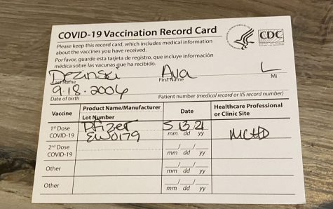 A photo of my vaccination card.