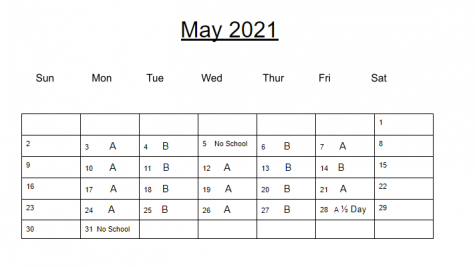 A and B day schedule in May.