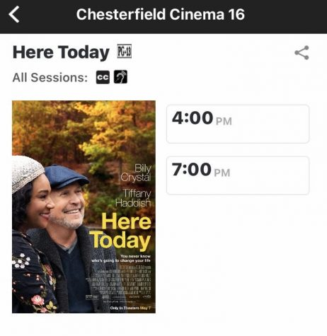 """Showtimes for """"Here Today"""" at Chesterfield Crossing Theater."""