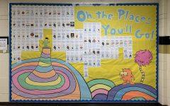 A bulletin board in the main hallway showcasing everyone's post-graduation plans.