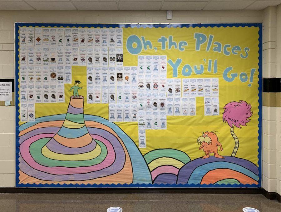 A bulletin board in the main hallway showcasing everyones post-graduation plans.