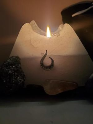 This is the beautiful Cedar Healing candle burning oh so majestically